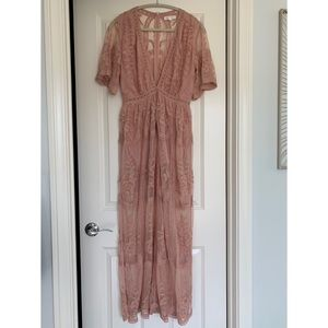 Honey Punch Mauve Lace Romper Dress